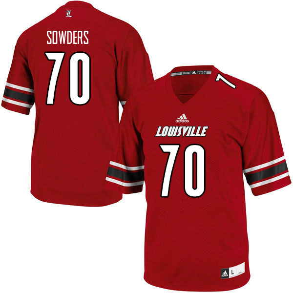 Men #70 Emmanual Sowders Louisville Cardinals College Football Jerseys Sale-Red