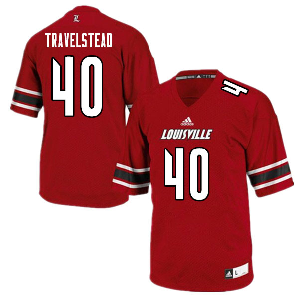 Men #40 Brock Travelstead Louisville Cardinals College Football Jerseys Sale-White