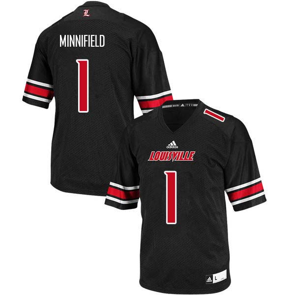 Men Louisville Cardinals #1 Frank Minnifield College Football Jerseys Sale-Black
