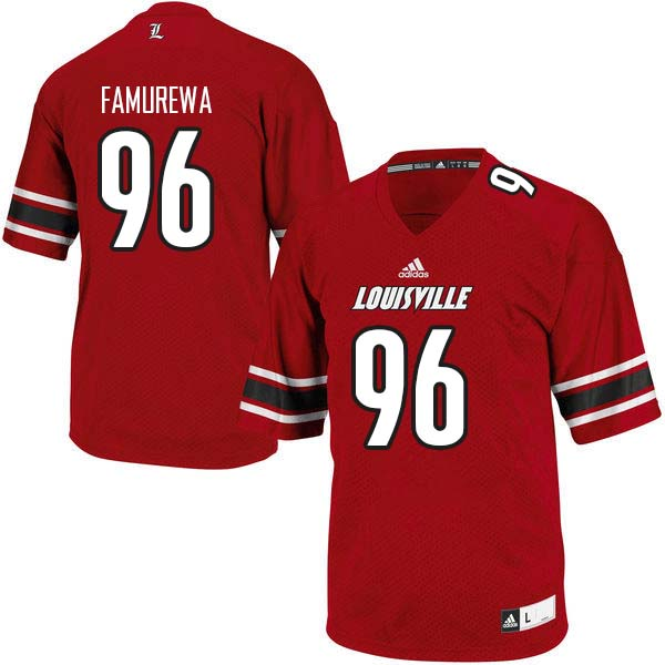 Men Louisville Cardinals #96 Henry Famurewa College Football Jerseys Sale-Red