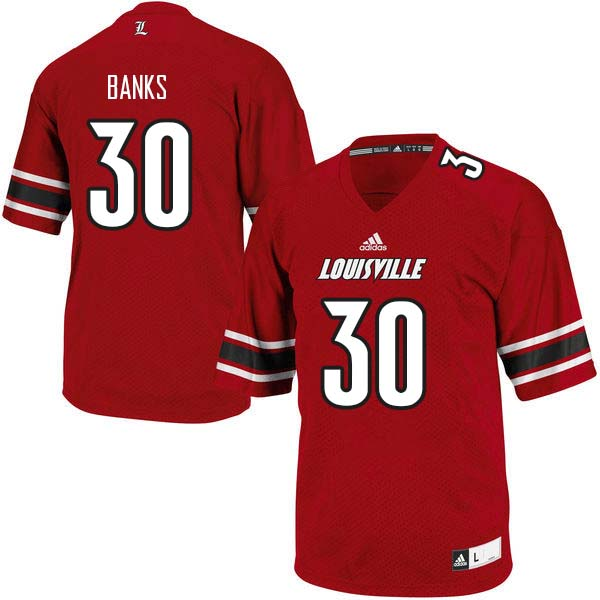 Men Louisville Cardinals #30 Jeffrey Banks College Football Jerseys Sale-Red