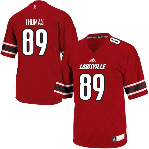 Men Louisville Cardinals #89 Jordan Thomas College Football Jerseys Sale-Red