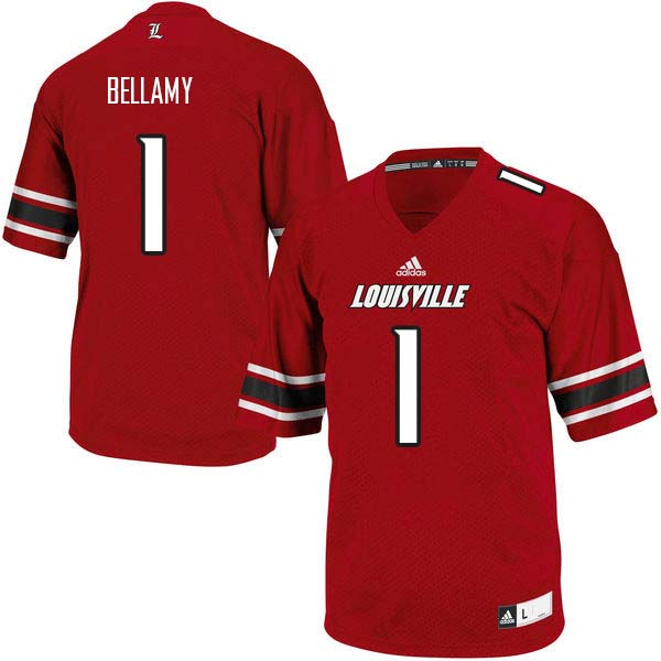 Men Louisville Cardinals #1 Joshua Bellamy College Football Jerseys Sale-Red