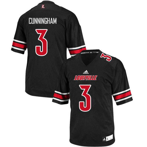 Men Louisville Cardinals #3 Malik Cunningham College Football Jerseys Sale-Black