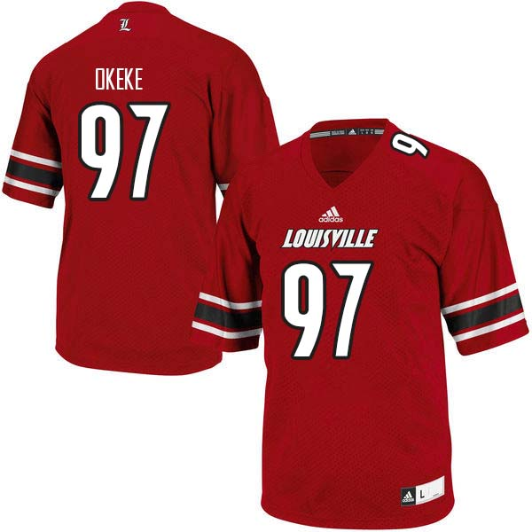 Men Louisville Cardinals #97 Nick Okeke College Football Jerseys Sale-Red
