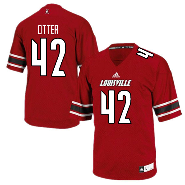Men #42 Patrick Otter Louisville Cardinals College Football Jerseys Sale-Red