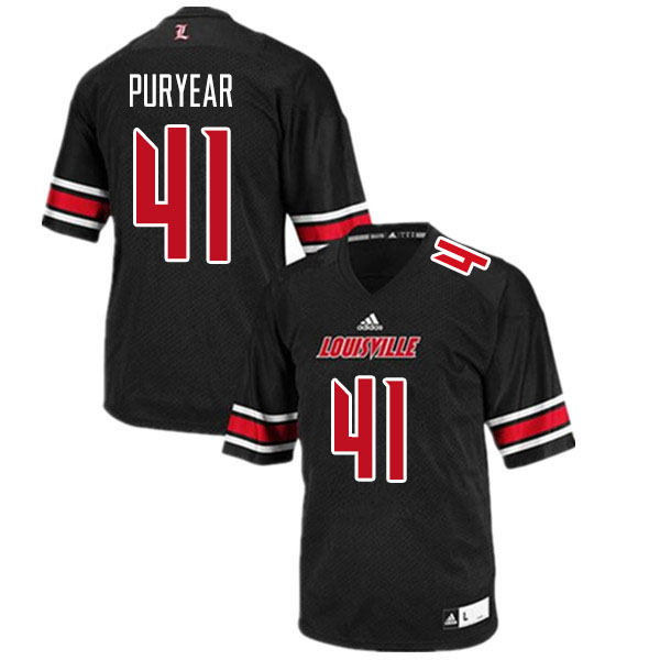 Men #41 Ramon Puryear Louisville Cardinals College Football Jerseys Sale-Black