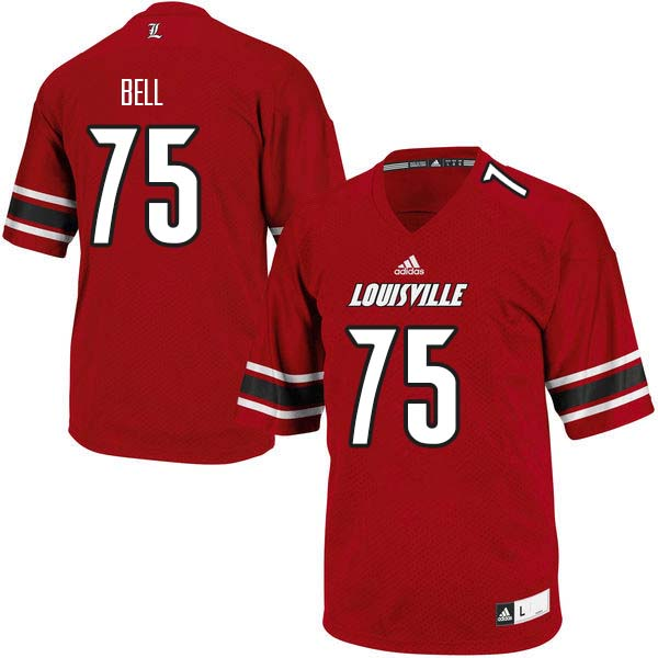 Men Louisville Cardinals #75 Robbie Bell College Football Jerseys Sale-Red