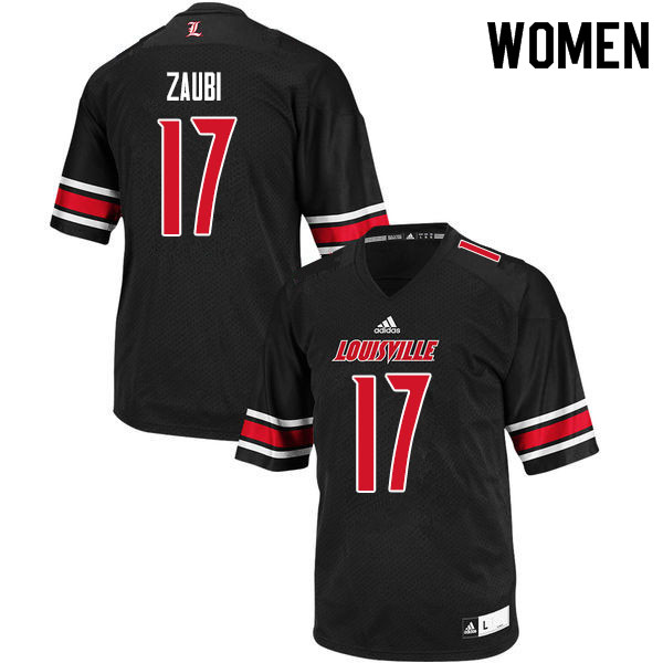 Women #17 Drew Zaubi Louisville Cardinals College Football Jerseys Sale-Black