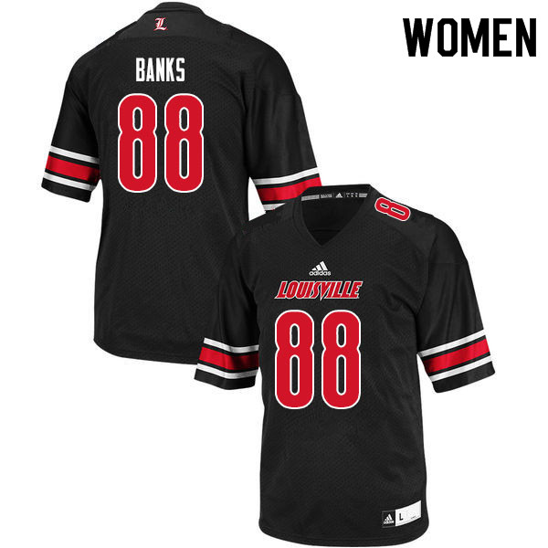 Women #88 Jeffrey Banks Louisville Cardinals College Football Jerseys Sale-Black