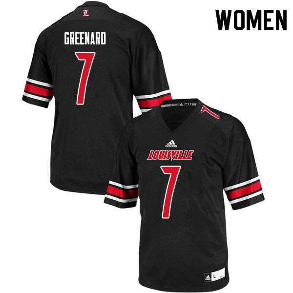 Women #7 Jon Greenard Louisville Cardinals College Football Jerseys Sale-Black