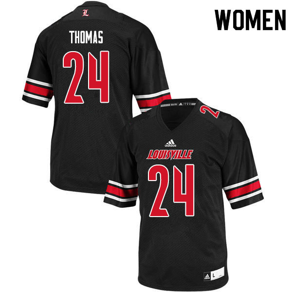 Women #24 Lamarques Thomas Louisville Cardinals College Football Jerseys Sale-Black