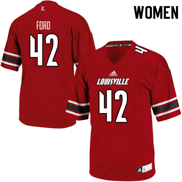 Women #42 Marshon Ford Louisville Cardinals College Football Jerseys Sale-Red