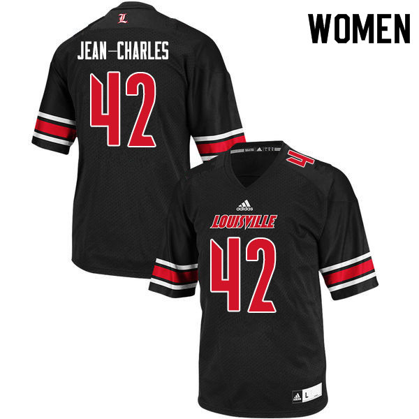 Women #42 Ori Jean-Charles Louisville Cardinals College Football Jerseys Sale-Black