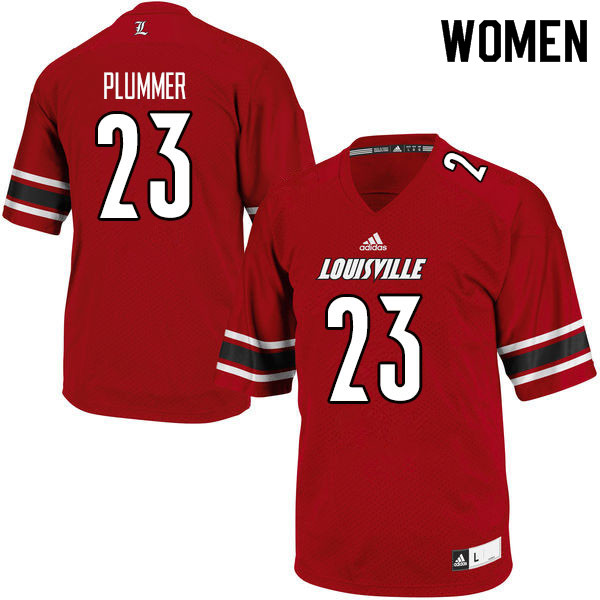 Women #23 Telly Plummer Louisville Cardinals College Football Jerseys Sale-Red