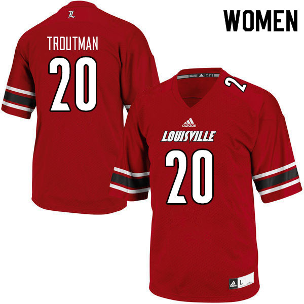 Women #20 Trenell Troutman Louisville Cardinals College Football Jerseys Sale-Red