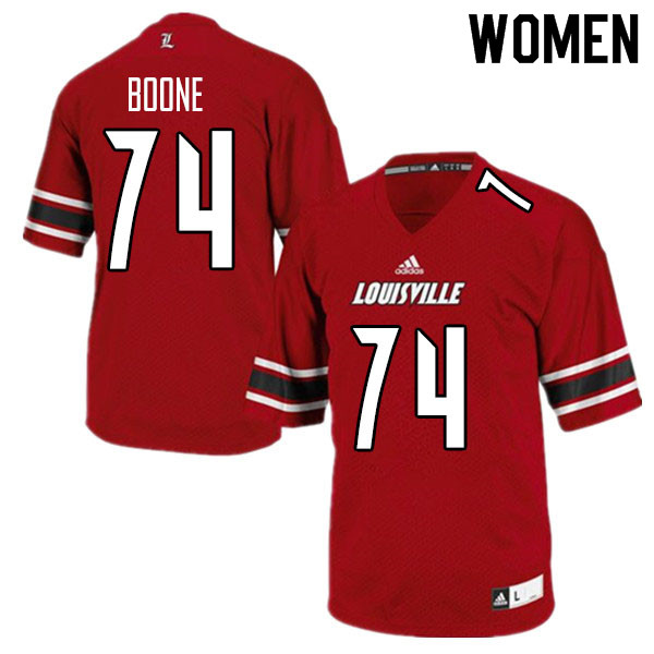 Women #74 Adonis Boone Louisville Cardinals College Football Jerseys Sale-Red