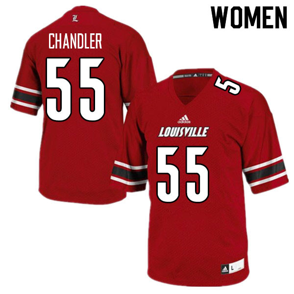 Women #55 Caleb Chandler Louisville Cardinals College Football Jerseys Sale-Red