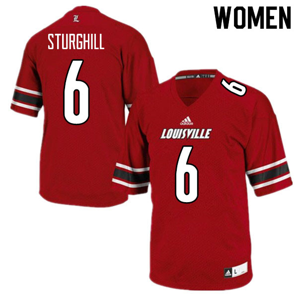 Women #6 Cornelius Sturghill Louisville Cardinals College Football Jerseys Sale-Red