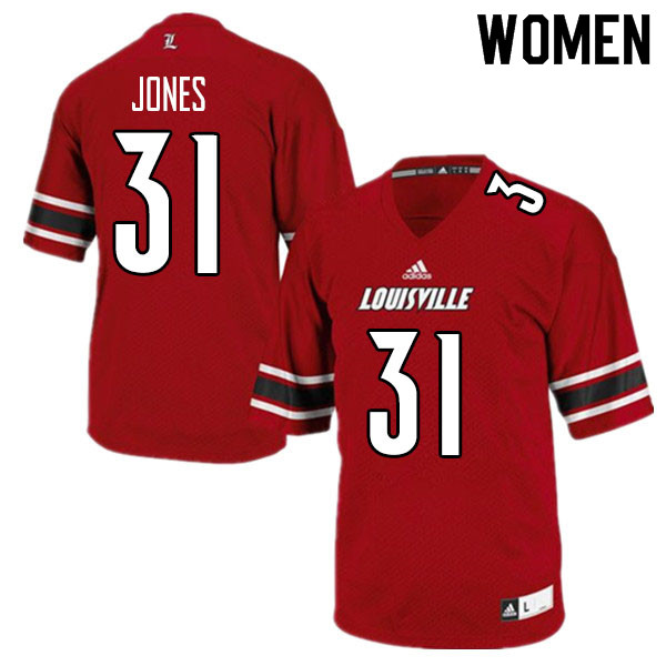 Women #31 Dorian Jones Louisville Cardinals College Football Jerseys Sale-Red