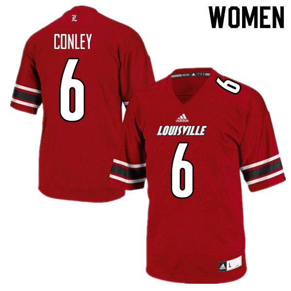 Women #6 Evan Conley Louisville Cardinals College Football Jerseys Sale-Red