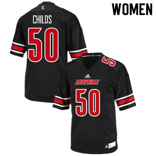 Women #50 Jean-Luc Childs Louisville Cardinals College Football Jerseys Sale-Black