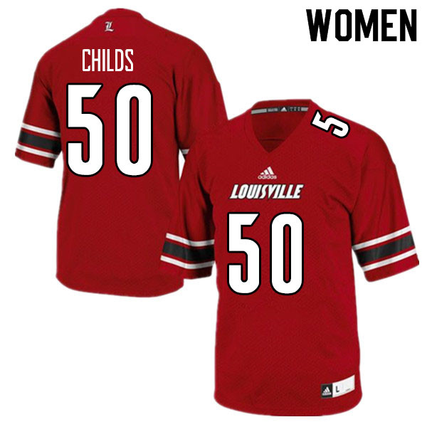 Women #50 Jean-Luc Childs Louisville Cardinals College Football Jerseys Sale-Red