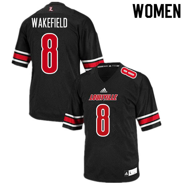Women #8 Keion Wakefield Louisville Cardinals College Football Jerseys Sale-Black