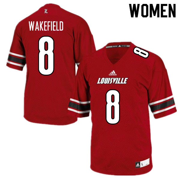 Women #8 Keion Wakefield Louisville Cardinals College Football Jerseys Sale-Red