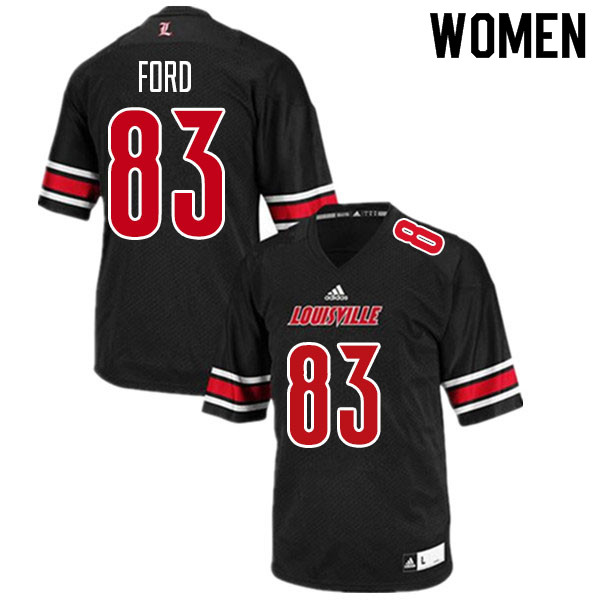Women #83 Marshon Ford Louisville Cardinals College Football Jerseys Sale-Black