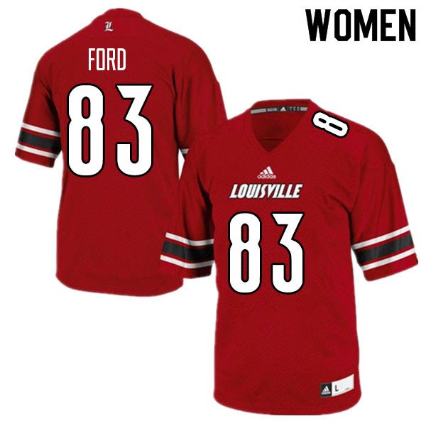 Women #83 Marshon Ford Louisville Cardinals College Football Jerseys Sale-Red