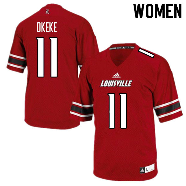 Women #11 Nick Okeke Louisville Cardinals College Football Jerseys Sale-Red