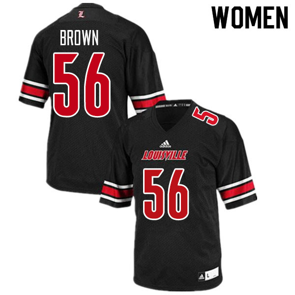 Women #56 Renato Brown Louisville Cardinals College Football Jerseys Sale-Black