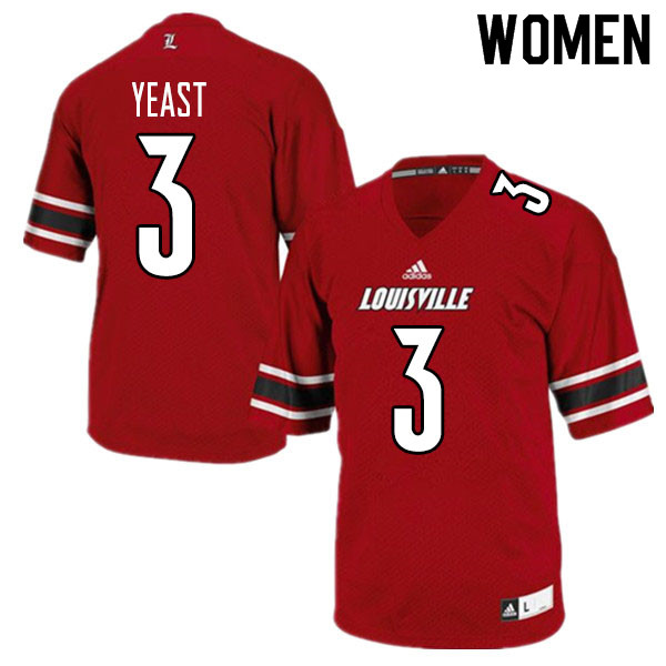 Women #3 Russ Yeast Louisville Cardinals College Football Jerseys Sale-Red