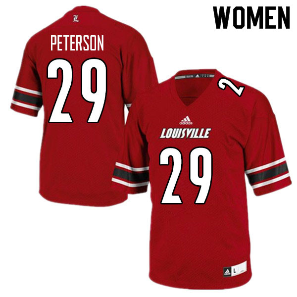 Women #29 Tabarius Peterson Louisville Cardinals College Football Jerseys Sale-Red