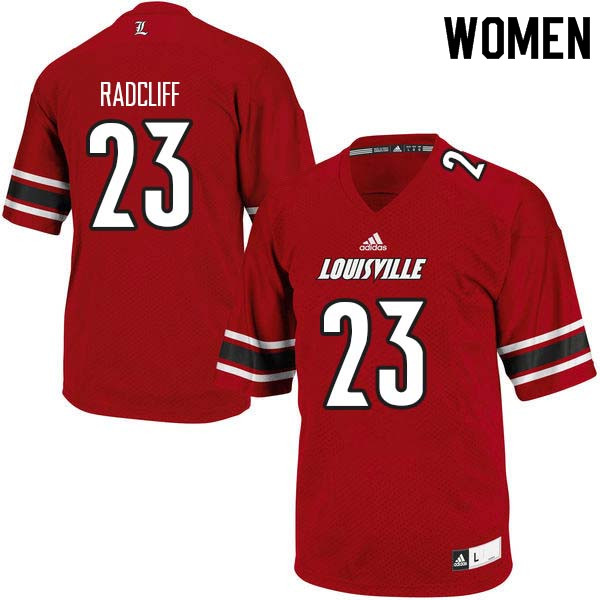 Women Louisville Cardinals #23 Brandon Radcliff College Football Jerseys Sale-Red