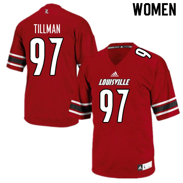 Women #97 Caleb Tillman Louisville Cardinals College Football Jerseys Sale-Red