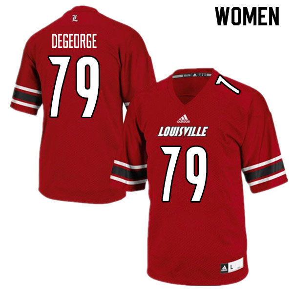 Women #79 Cameron DeGeorge Louisville Cardinals College Football Jerseys Sale-Red