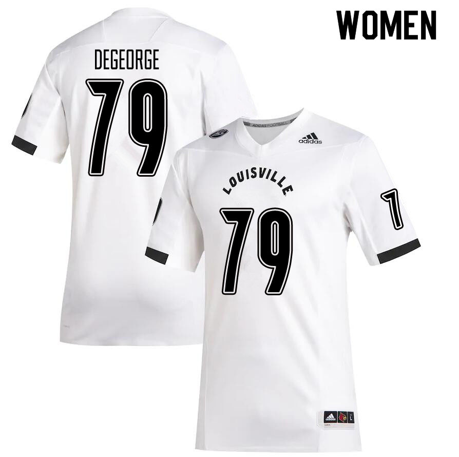 Women #79 Cameron DeGeorge Louisville Cardinals College Football Jerseys Sale-White