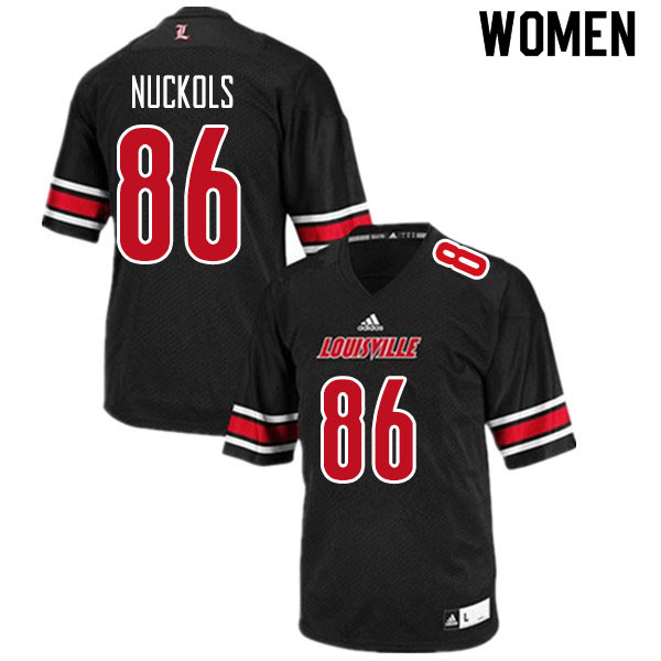 Women #86 Chris Nuckols Louisville Cardinals College Football Jerseys Sale-Black