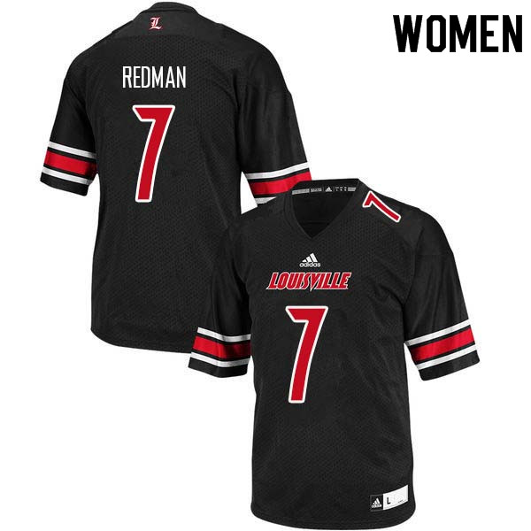 Women Louisville Cardinals #7 Chris Redman College Football Jerseys Sale-Black