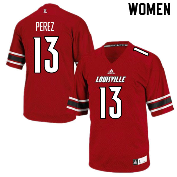 Women #13 Christian Perez Louisville Cardinals College Football Jerseys Sale-Red