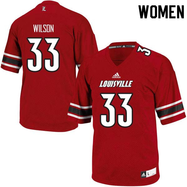 Women Louisville Cardinals #33 Colin Wilson College Football Jerseys Sale-Red