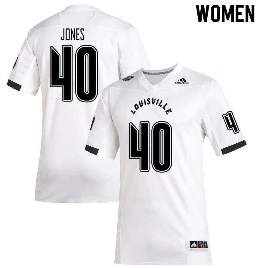 Women #40 Darius Jones Louisville Cardinals College Football Jerseys Sale-White