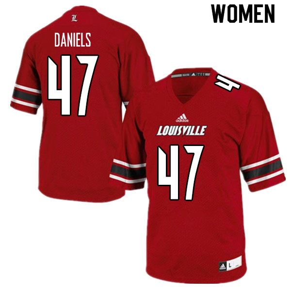 Women #47 Desmond Daniels Louisville Cardinals College Football Jerseys Sale-Red