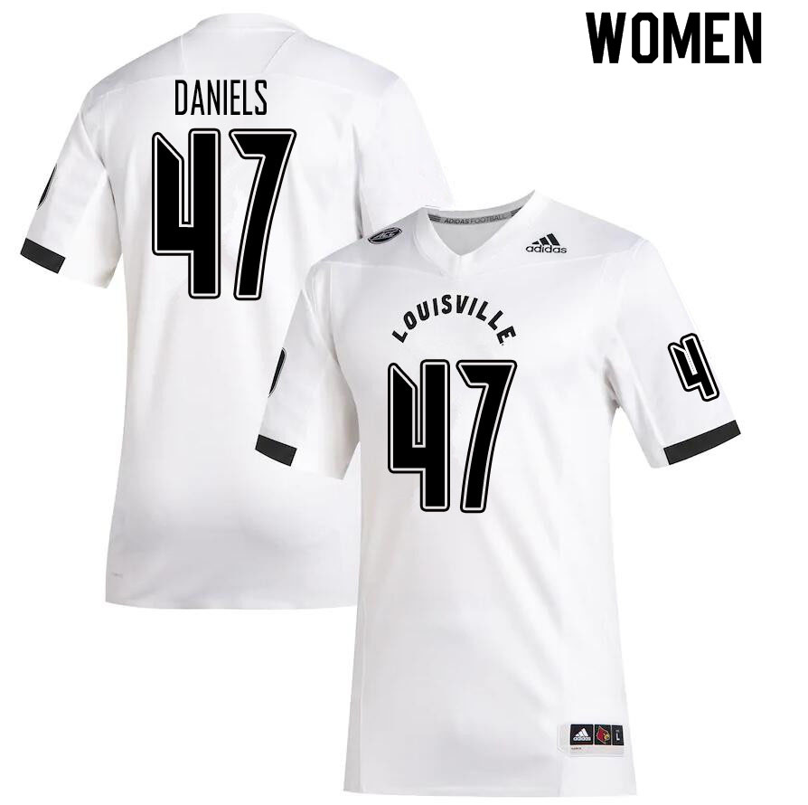 Women #47 Desmond Daniels Louisville Cardinals College Football Jerseys Sale-White