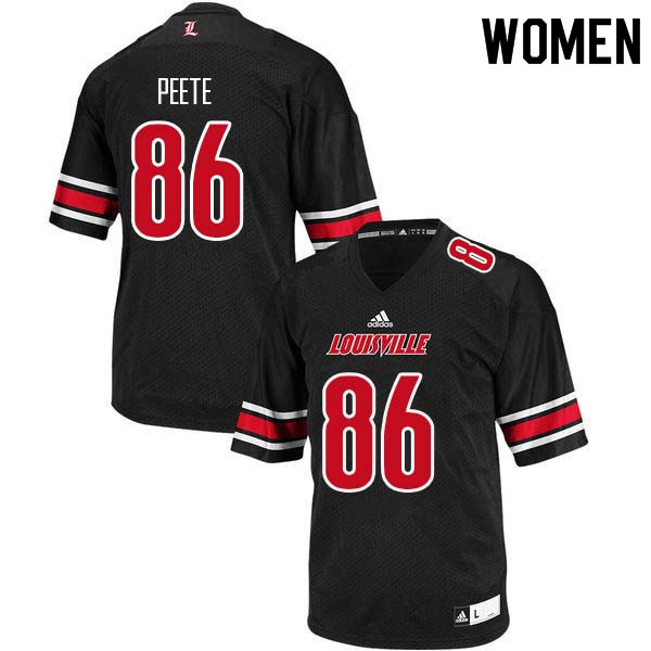 Women Louisville Cardinals #86 Devante Peete College Football Jerseys Sale-Black