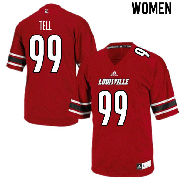 Women #99 Dezmond Tell Louisville Cardinals College Football Jerseys Sale-Red