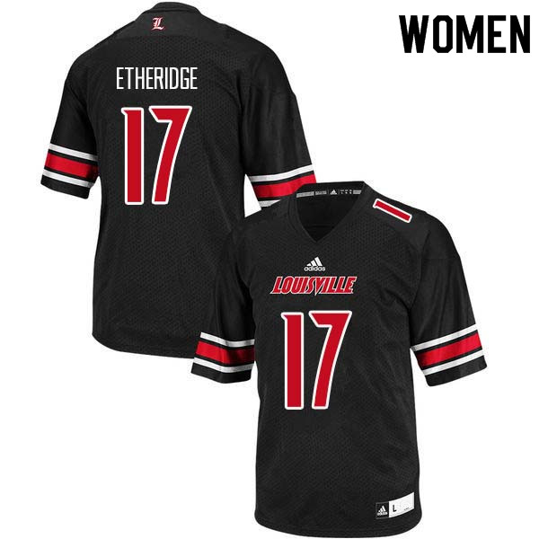 Women Louisville Cardinals #17 Dorian Etheridge College Football Jerseys Sale-Black