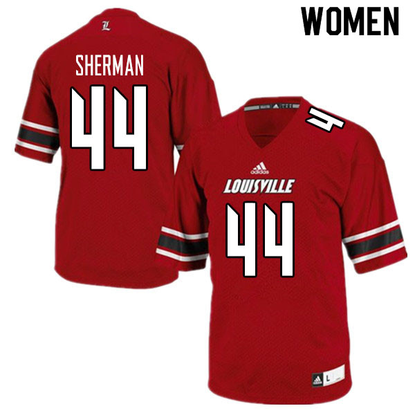 Women #44 Francis Sherman Louisville Cardinals College Football Jerseys Sale-Red